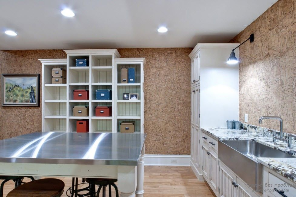 Cork Wallpaper Interior Finishing Advice & Photos. Nice different level open shelving in the natural finished interior
