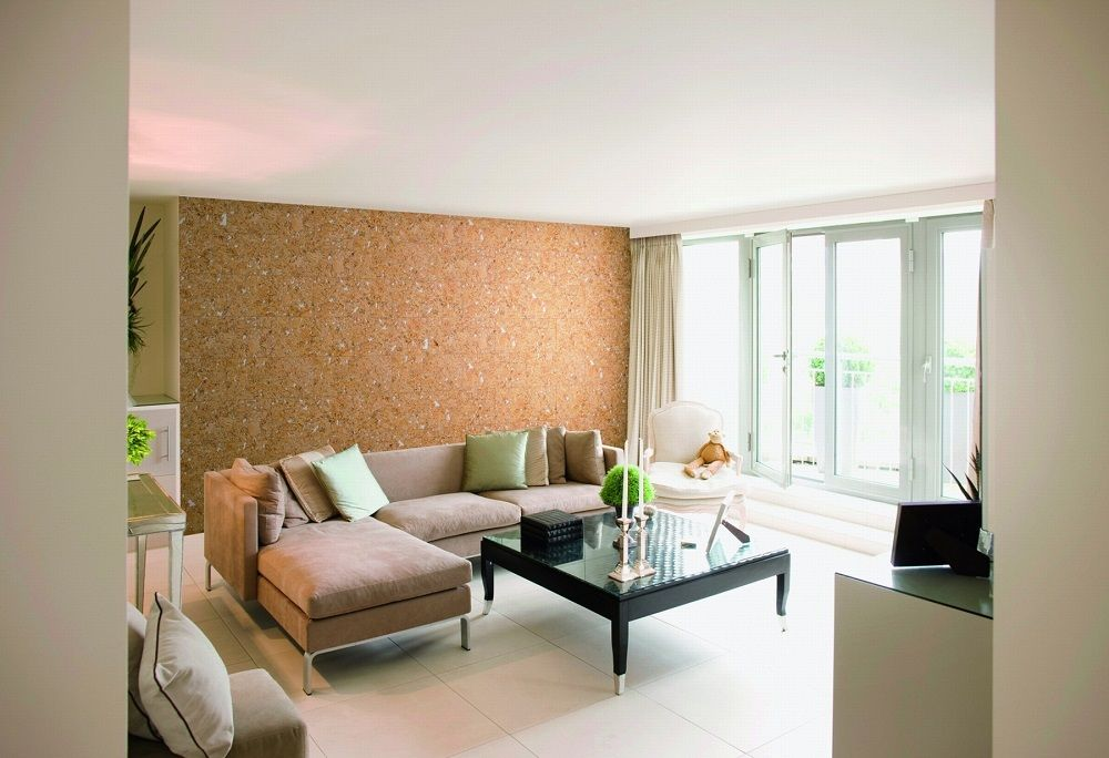 Modern minimalsitic interior with accent cork wallpapere wall