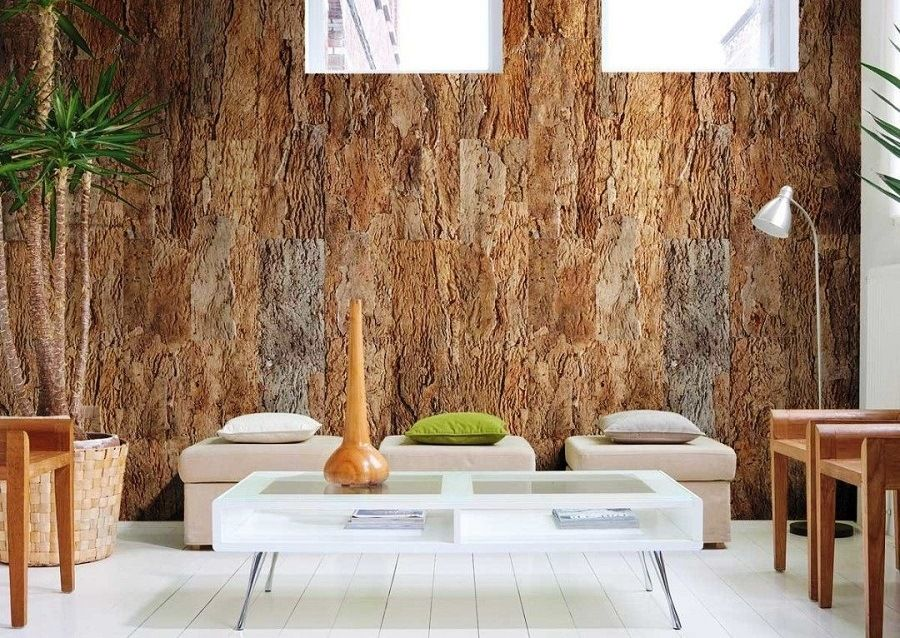 Cork Wallpaper Interior Finishing Advice & Photos. Different shades of material on the wall