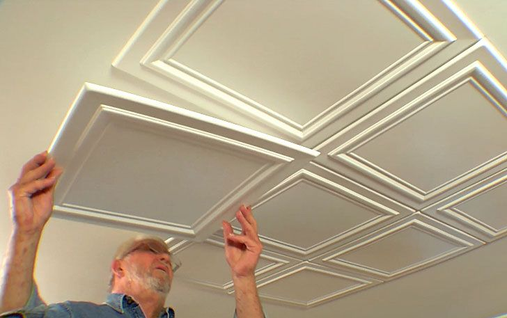 Expanded Polystyrene Tiles (Styrofoam tiles) Ceiling FInishing. Embossed uncovered plates