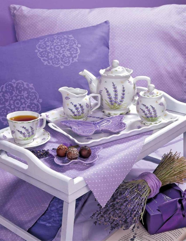 Overbed Table (Bed Tray). Expanding Functionality Element in Modern Home. Purple color theme for the bedroom
