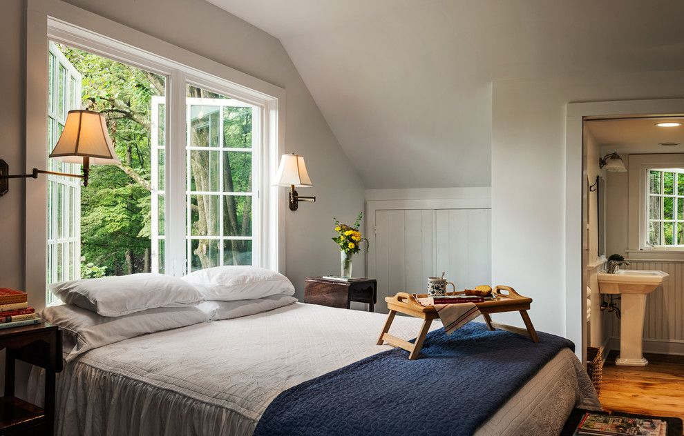 Overbed Table (Bed Tray). Expanding Functionality Element in Modern Home. Classic American style with big latticed window