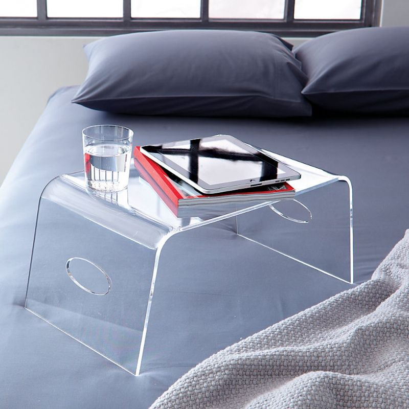 Ultramodern and cozy plexiglas bed tray