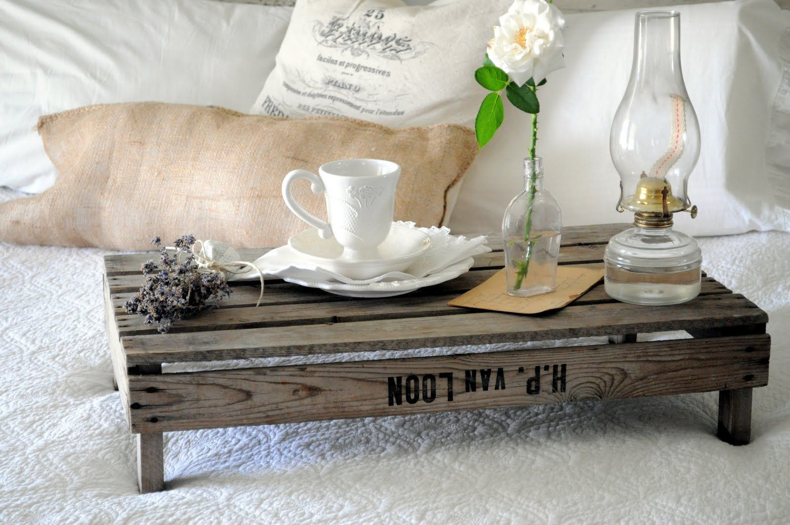 Overbed table made of wooden pallet
