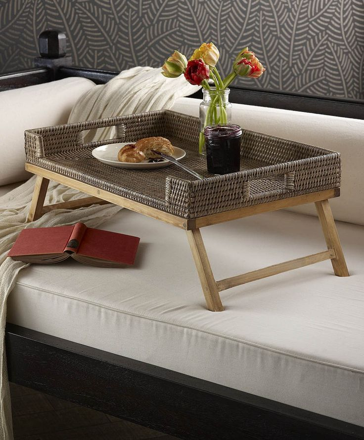 Overbed Table (Bed Tray). Expanding Functionality Element in Modern Home. Chocolate color for the tabletop