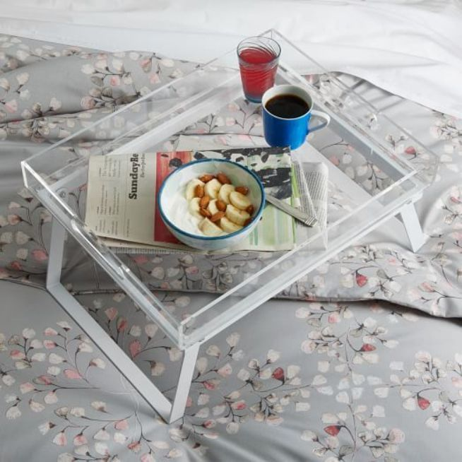 Transparent plastic bed tray for modern fashion-keeper owner