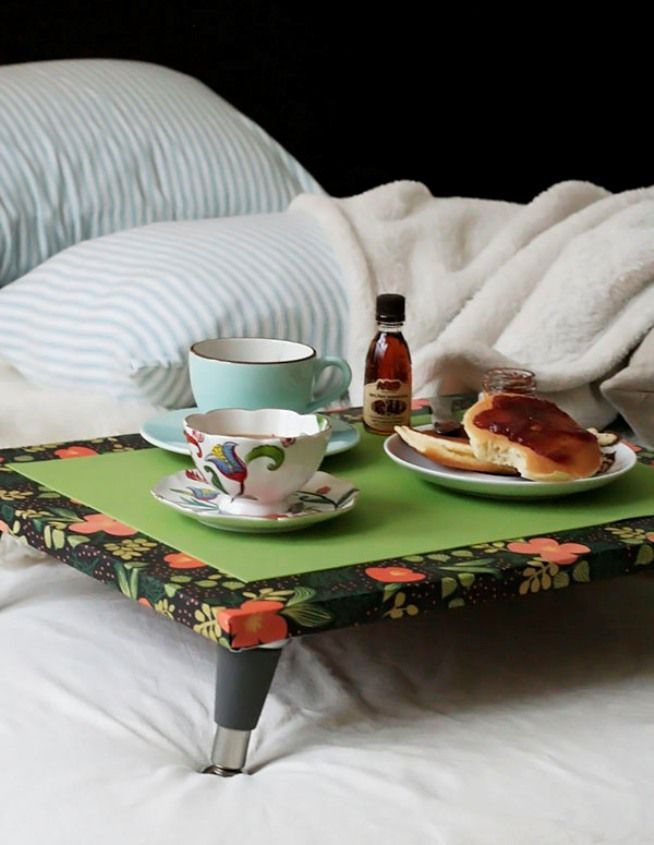 Overbed Table (Bed Tray). Expanding Functionality Element in Modern Home. Unusual decoupage technique for the green topped item
