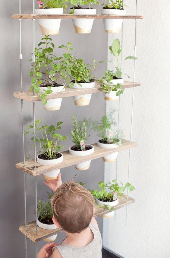 Wooden plant stand on the metall frame