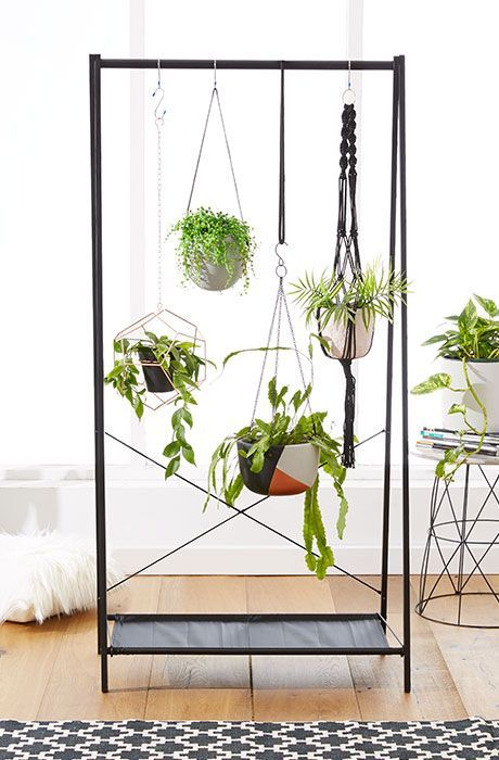 Swing-like metal framed stand for the plants