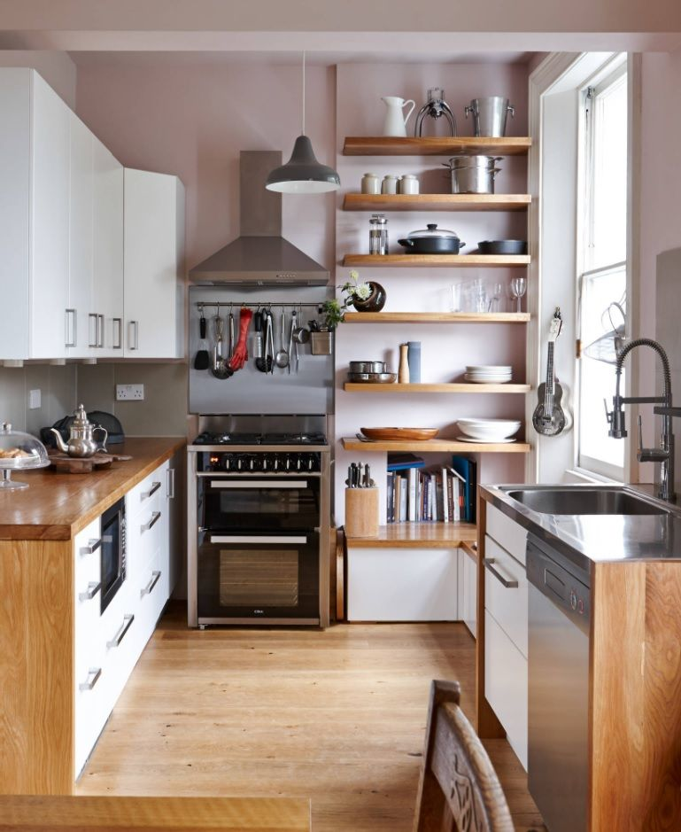 Bespoke Kitchen Interior Photos & Design Ideas. The budget solution for small space with open shelving storage and functional furniture set