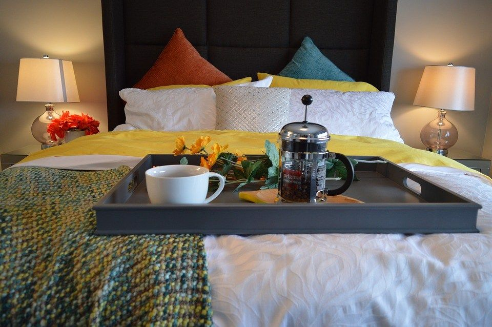 Casual style and interior atmosphere with the overbed tray with the tea pot