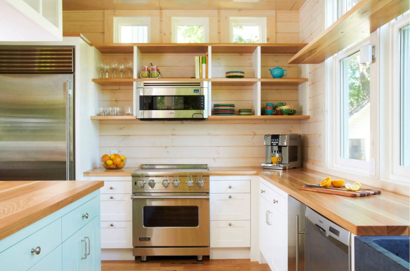 Butcher Block Countertop in Modern Kitchen Interior. Minimalistic Casual interior with open top storage systems
