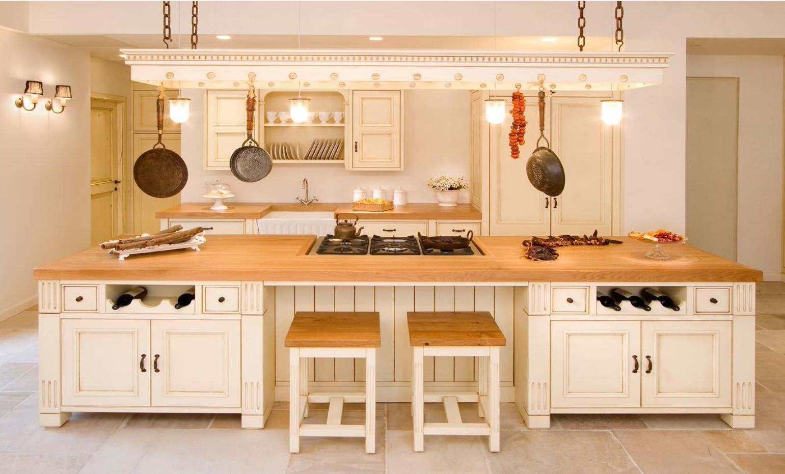 Butcher Block Countertop in Modern Kitchen Interior. Gorgeous Rustic atmosphere in calm light creamy tones