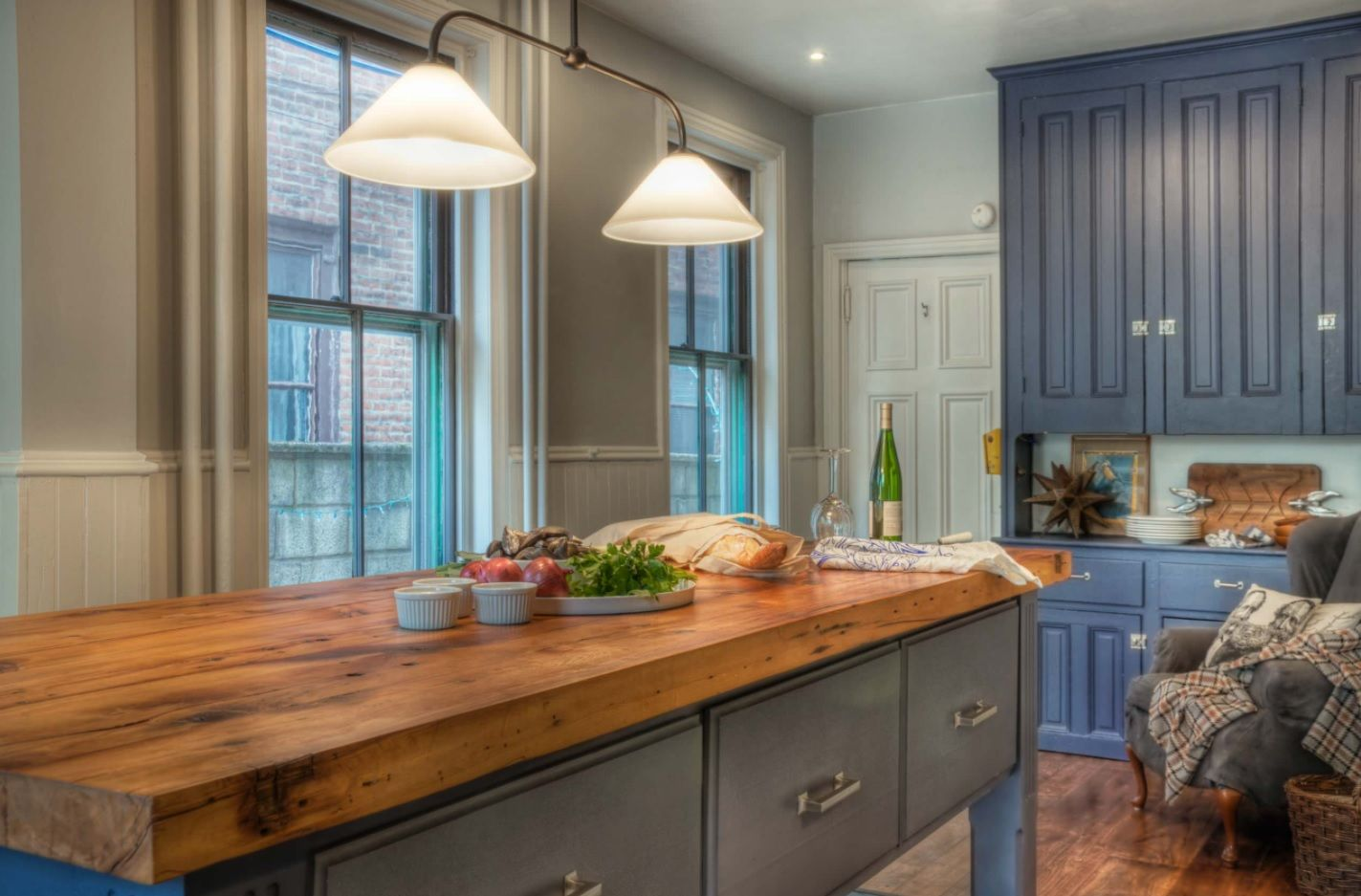 Butcher Block Countertop in Modern Kitchen Interior. Ideal fit for Casual, rustic and Classic mix of styles