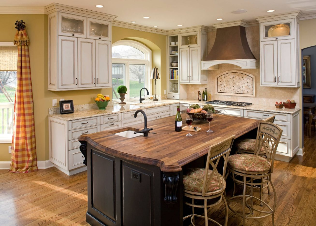 Butcher Block Countertop in Modern Kitchen Interior. Cool implementation of Provence style standards in the cottage