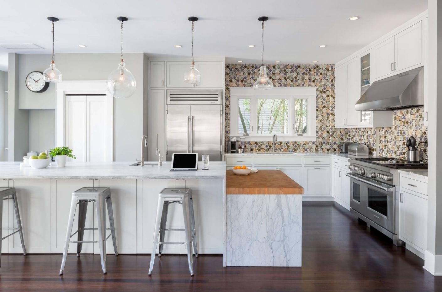 Butcher Block Countertop in Modern Kitchen Interior. Standing out mosaic tile for splashback
