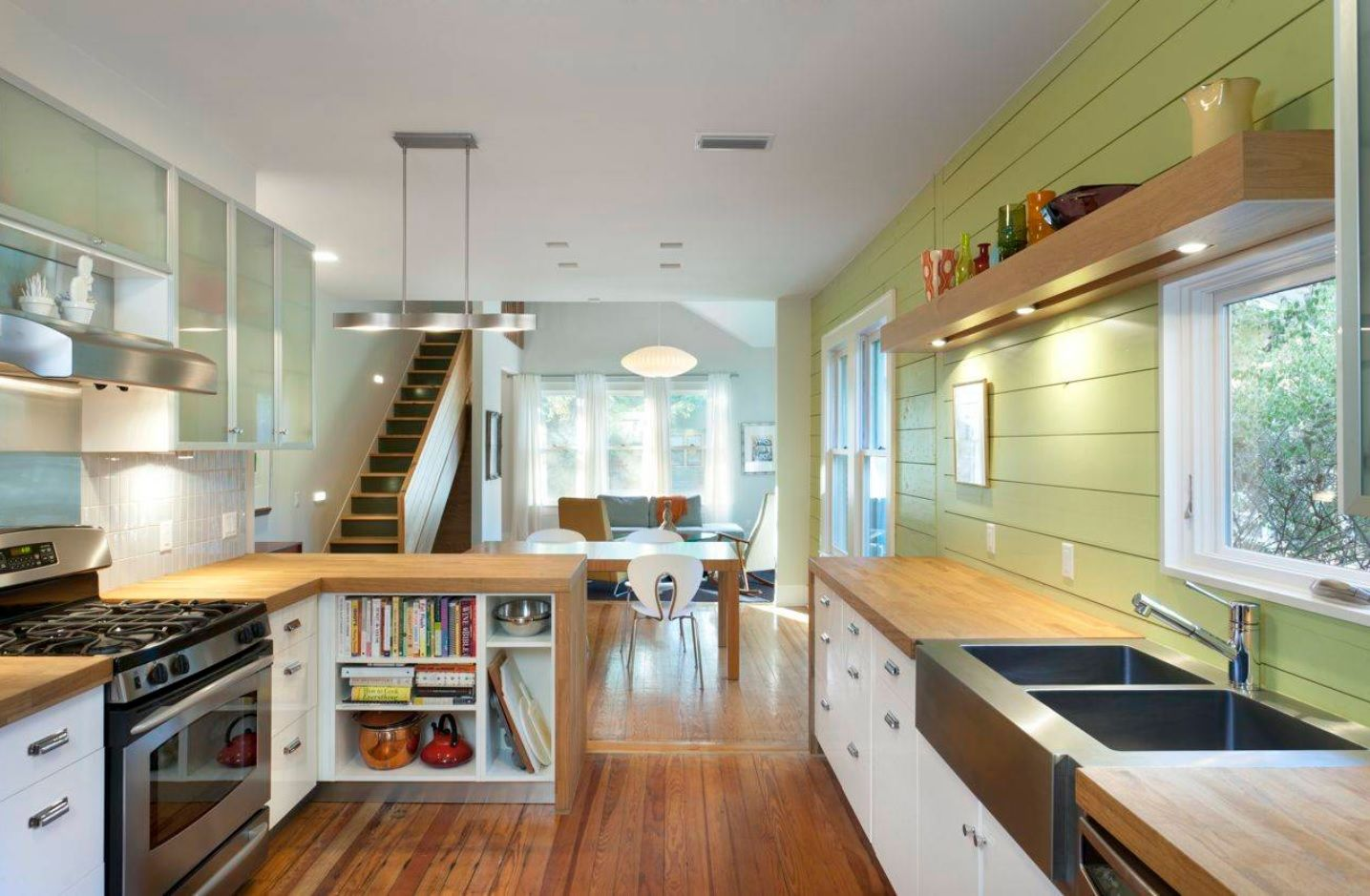 Butcher Block Countertop in Modern Kitchen Interior. open layout cottage soace in Modern style