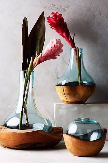 Chemical flask as the vase for the flower