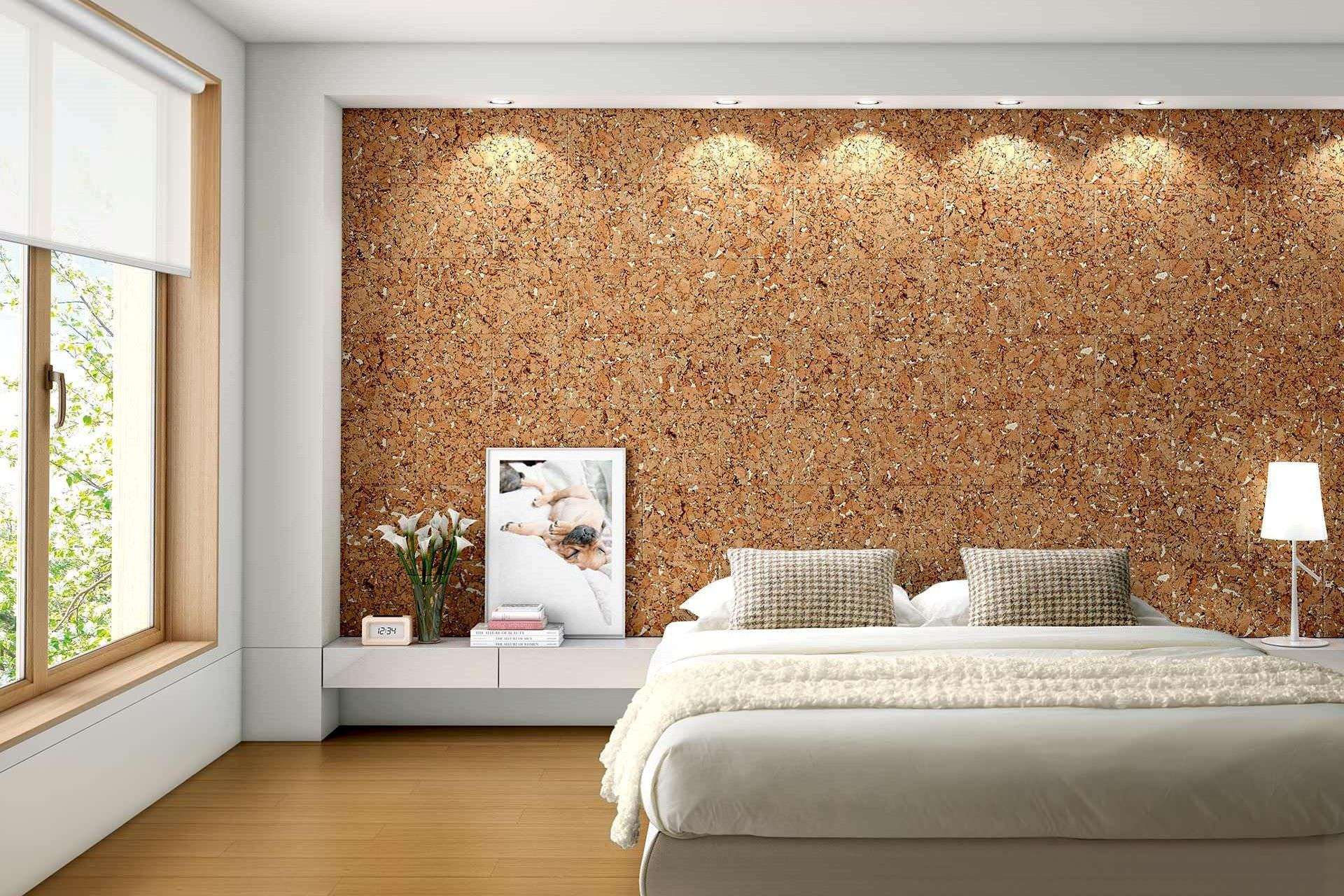 Cork Wallpaper Interior Finishing Advice & Photos. Decorative LED-lighting to emphasize the accent wall