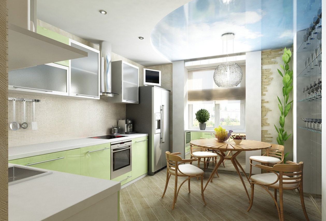 Kitchen Design 3D modelling in light green tones