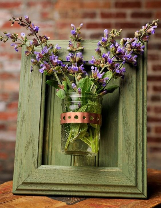 Glass jar for the field flower bouquet