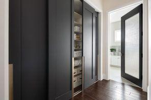 Modern Closet Types & Variants for Hallway Interior with Photos. Gorgeous dark gray matted facades in the modern design