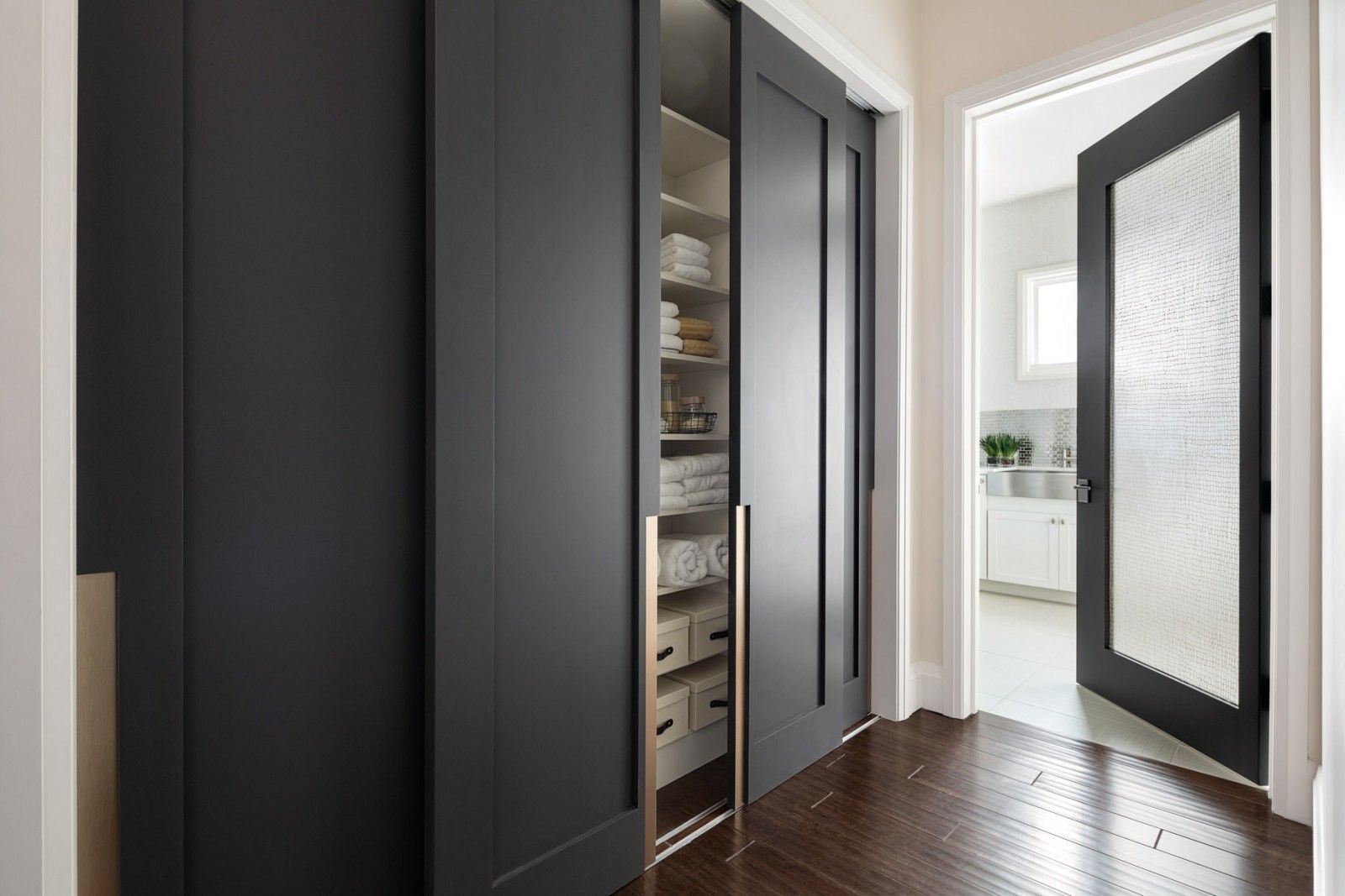 Modern Closet Types & Variants for Hallway Interior with Photos. Gorgeous dark gray matted facades in the modern design