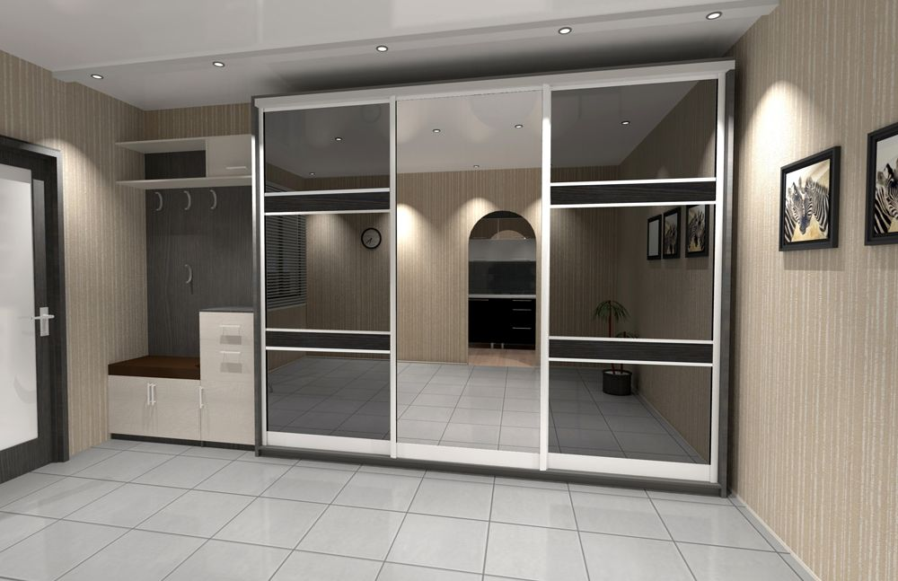 Glass surfaces of the modern designed closet in the large space of the entrance hall