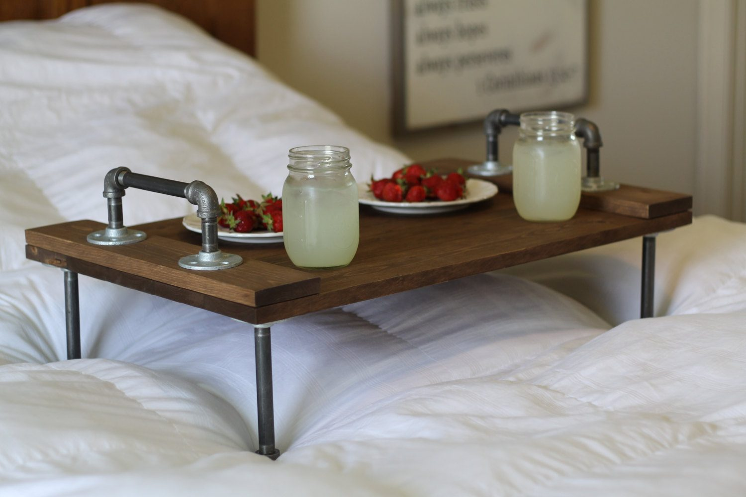 Overbed Table (Bed Tray). Expanding Functionality Element in Modern Home. Metal legs and wooden top woth handles