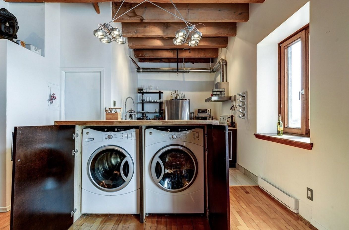 Laundry & Kitchen Functional Space Combination. Storage for appliances right in the kitchen island