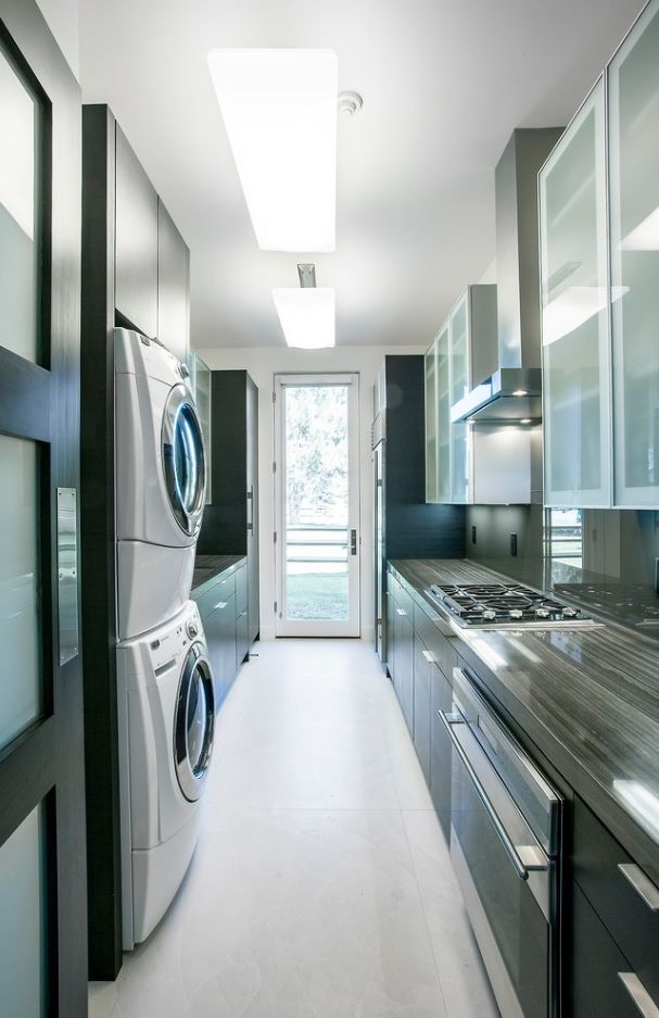 Laundry & Kitchen Functional Space Combination. Hi-tech style with corresponding futuristic forms of appliances