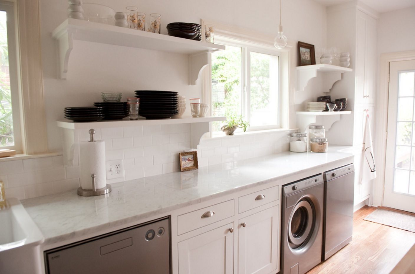 Typical English style for the private house kitchen interior