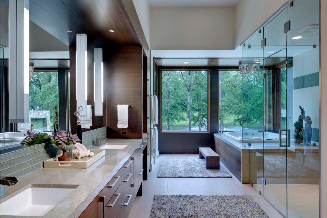 Casual modern stylistic for the spacious bathroom with large window