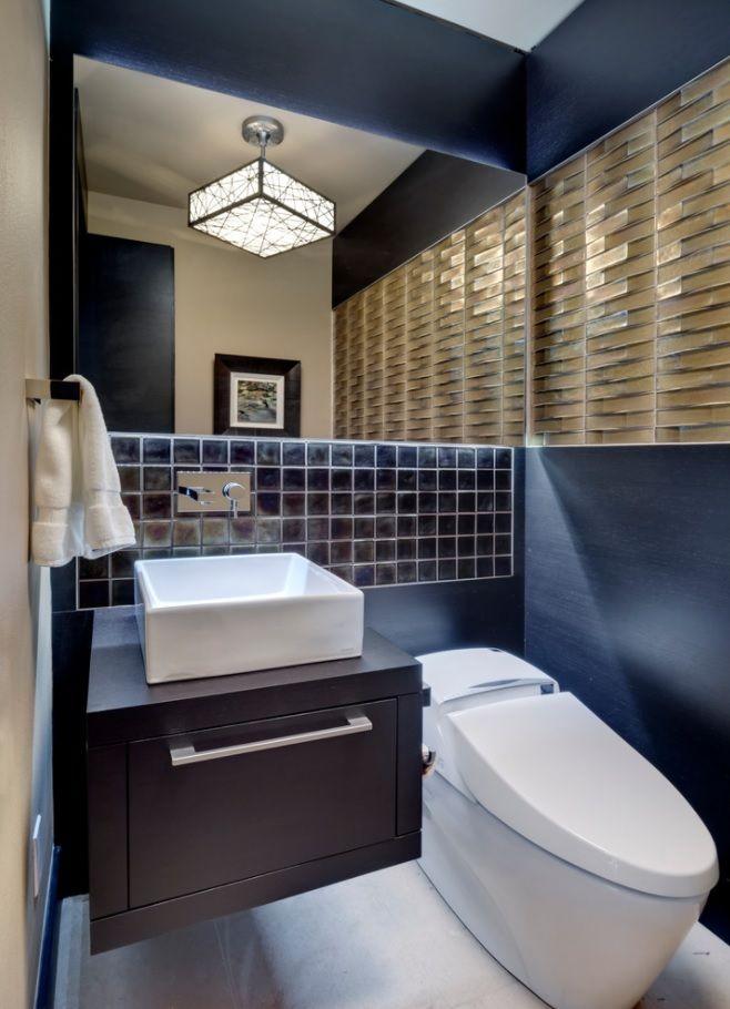 Abundance of finishing materials within dark toned black master bathroom