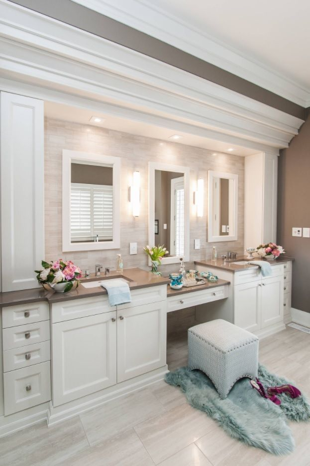 Classic white interior of the large bathroom with boudoir