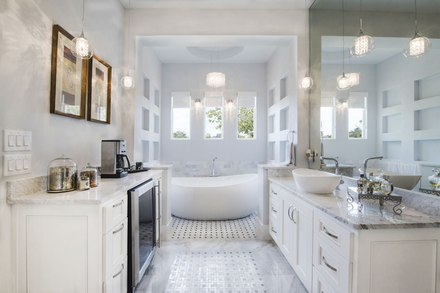 Fully equipped master bathroom in white color theme