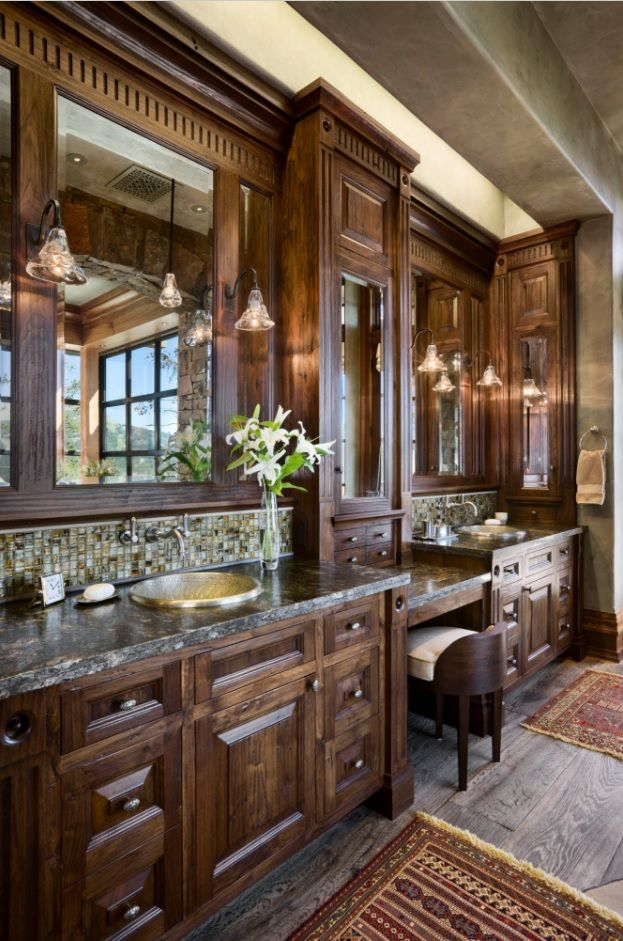 Fully natural decorated luxurious Classic bathroom in dark noble wooden tone