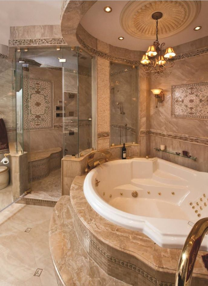Classic grandeur designed bathroom with brown trimming