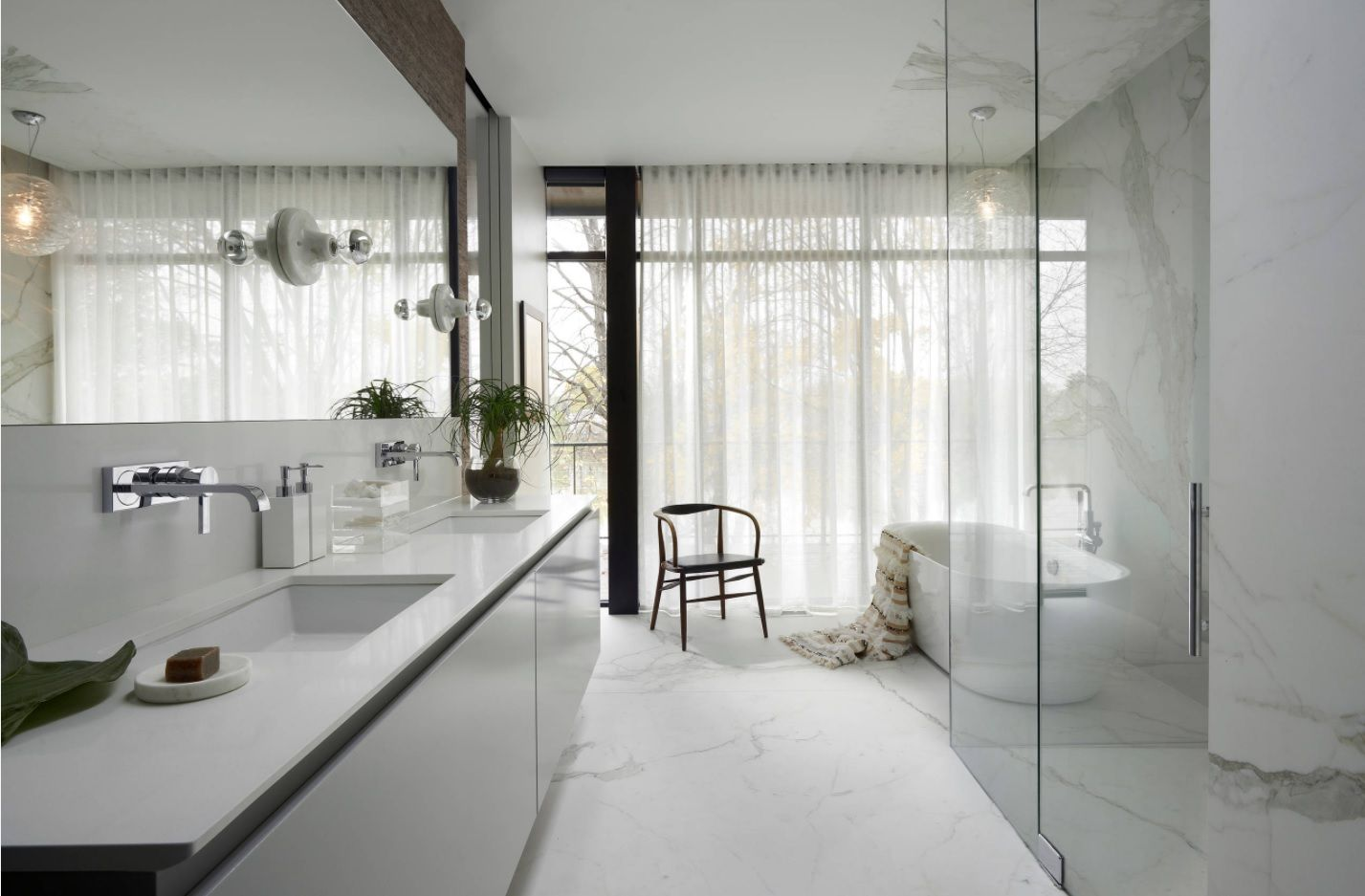 Master Bathroom Design Ideas with Real Interior Photos. Large panoramic window behind the tulle and white snow interior