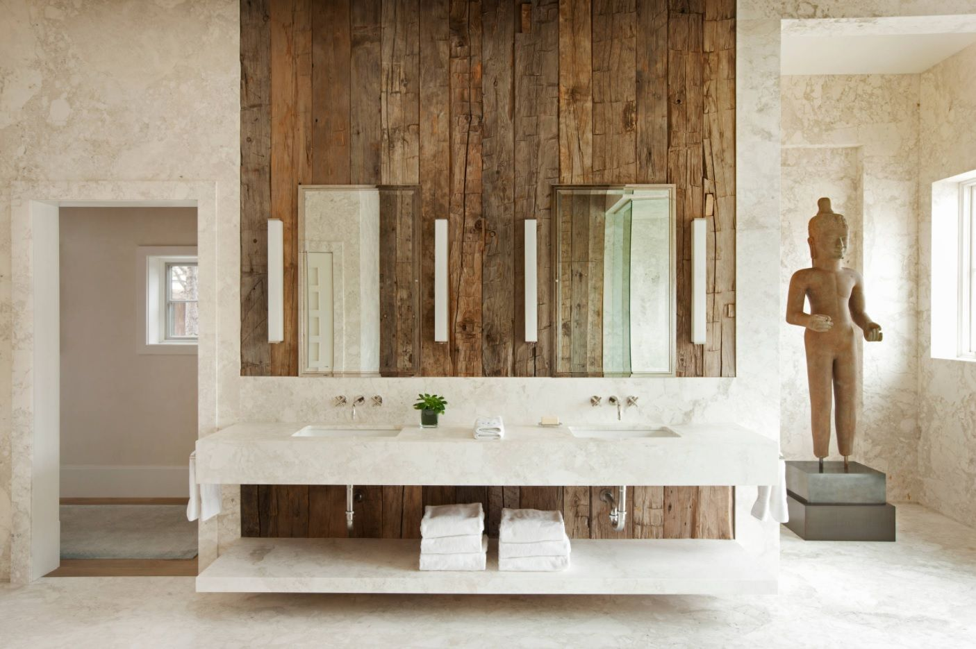 Master Bathroom Design Ideas with Real Interior Photos. Wooden accent wall