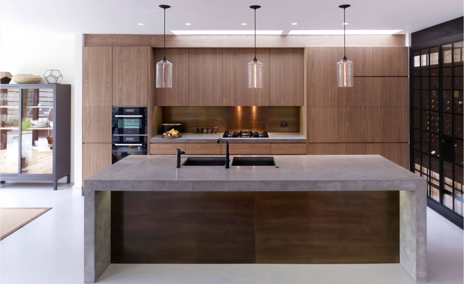 DIY Pouring Concrete Countertops. Interior Usage, Photos, Ideas. Walnut wood color theme for the kitchen