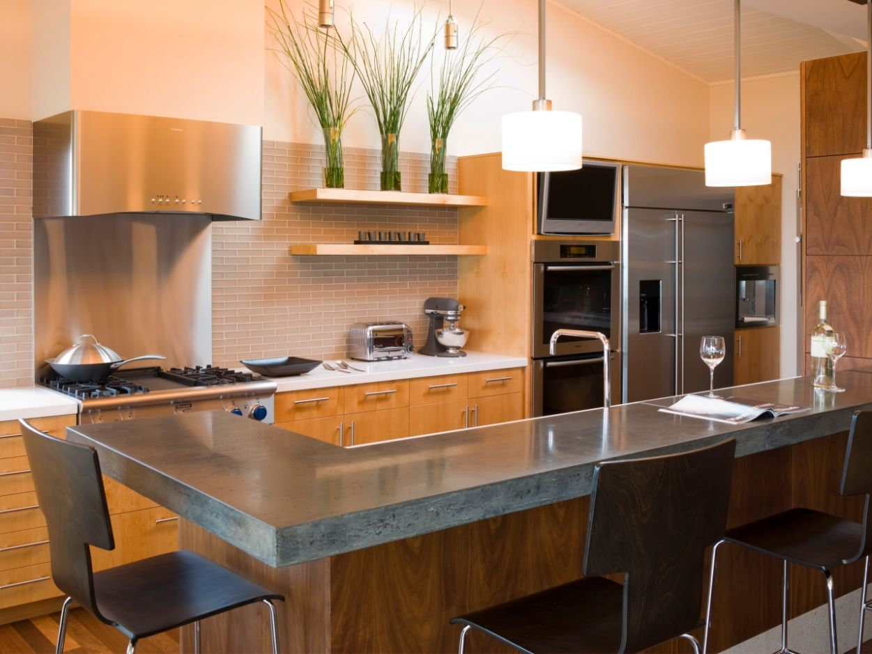 DIY Pouring Concrete Countertops. Interior Usage, Photos, Ideas. Hi-tech and eco styles mix in the kitchen with steel appliances' surfaces