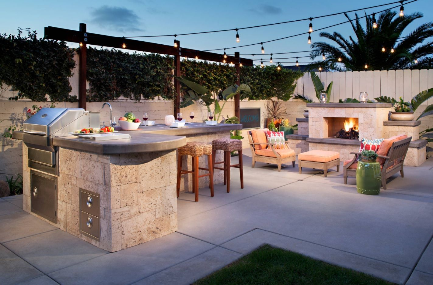 DIY Pouring Concrete Countertops. Interior Usage, Photos, Ideas. Outdoor backyard rest zone