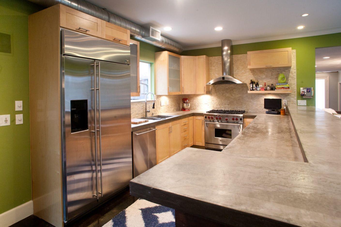 DIY Pouring Concrete Countertops. Interior Usage, Photos, Ideas. Gray color theme for modern kitchen