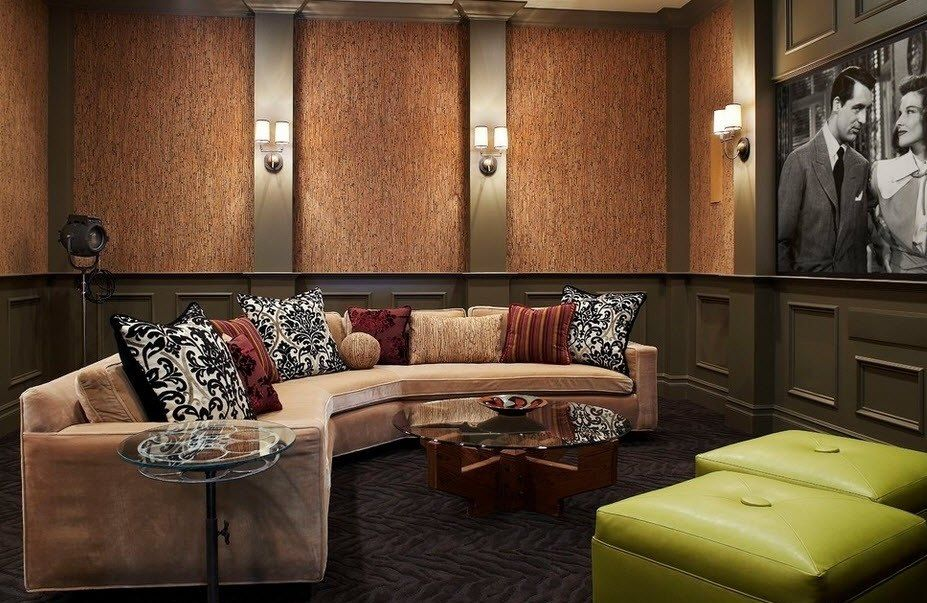 Cork Wallpaper Interior Finishing Advice & Photos. Living room with arch formed creamy upholstered sofa