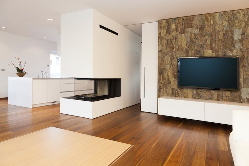 Cork Wallpaper Interior Finishing Advice & Photos. Futuristic design of the living room with artificial fireplace