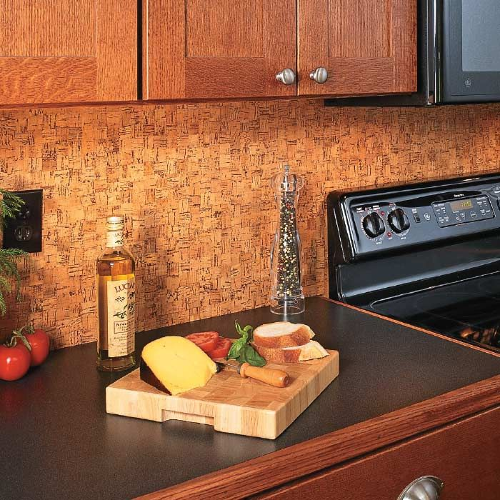 Cork Wallpaper Interior Finishing Advice & Photos. Cork splashback is natural and functional decision