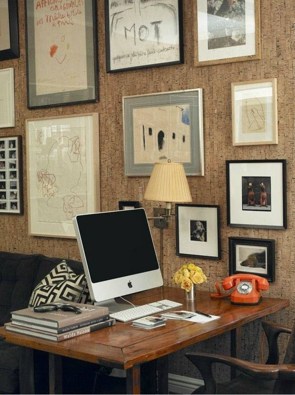 Cork Wallpaper Interior Finishing Advice & Photos. Full-fledged home office with iMac and old school orange telephone
