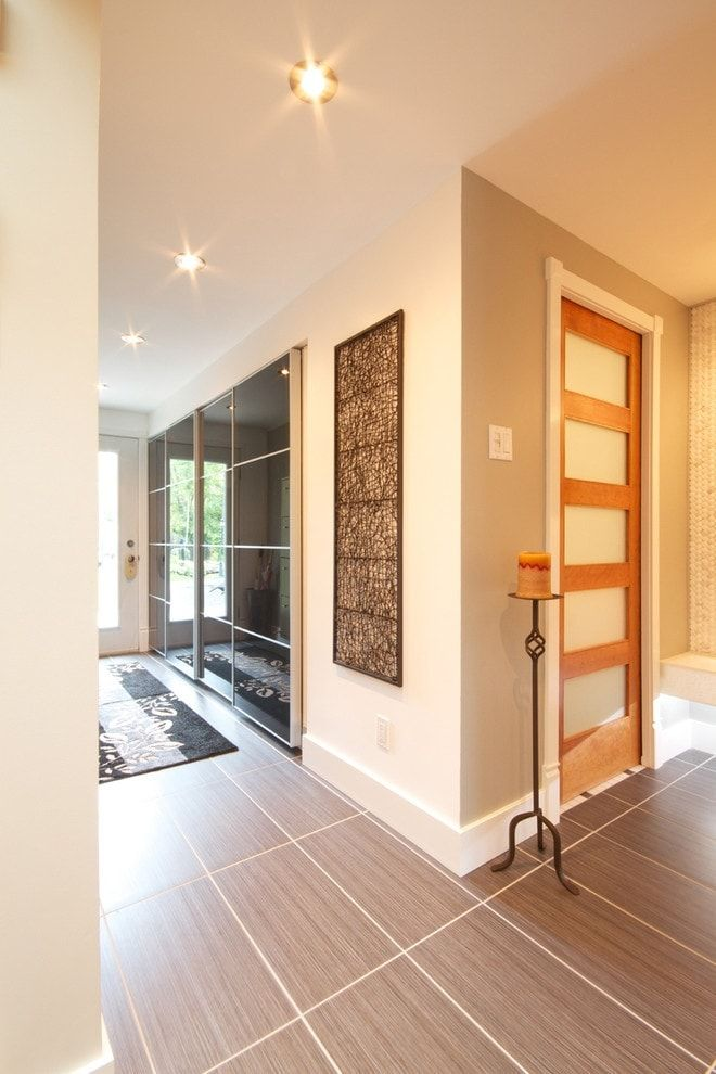 Modern Closet Types & Variants for Hallway Interior with Photos. Built-in glass panel of the wardrobe in the corridor