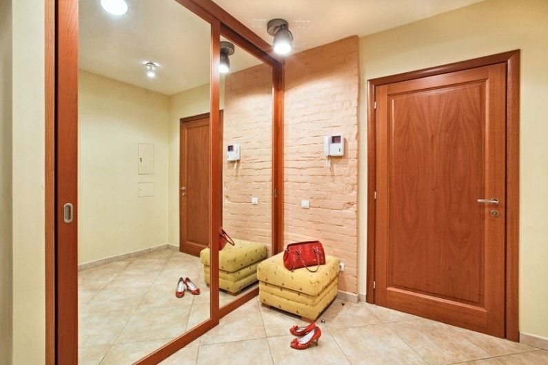 Modern Closet Types & Variants for Hallway Interior with Photos. Natural wood and glass for the Casual styled entrance